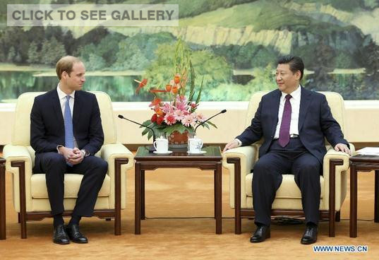 Chinese President Xi Jinping (R) meets with Britain's Prince William at the Great Hall of the People in Beijing, capital of China, March 2, 2015. (Photo: Xinhua/Ma Zhancheng)